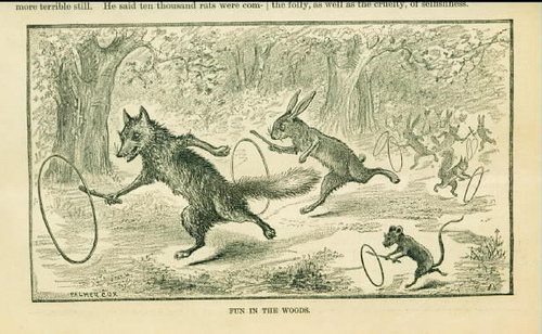 gravure renard lapin raton